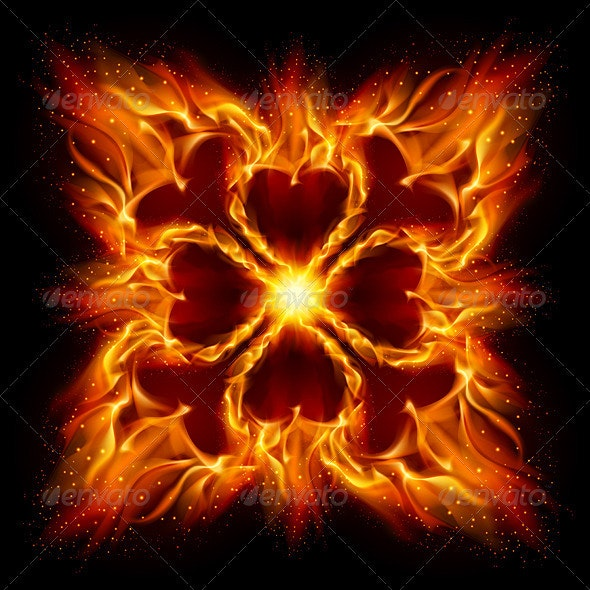 Burning fire cross - Nature Conceptual