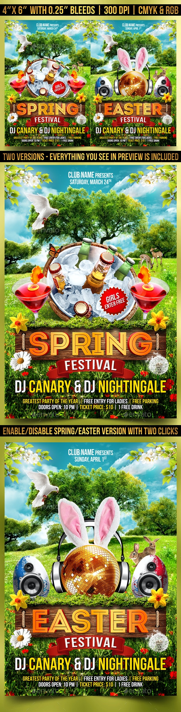 Spring and Easter Flyer Template - Clubs & Parties Events