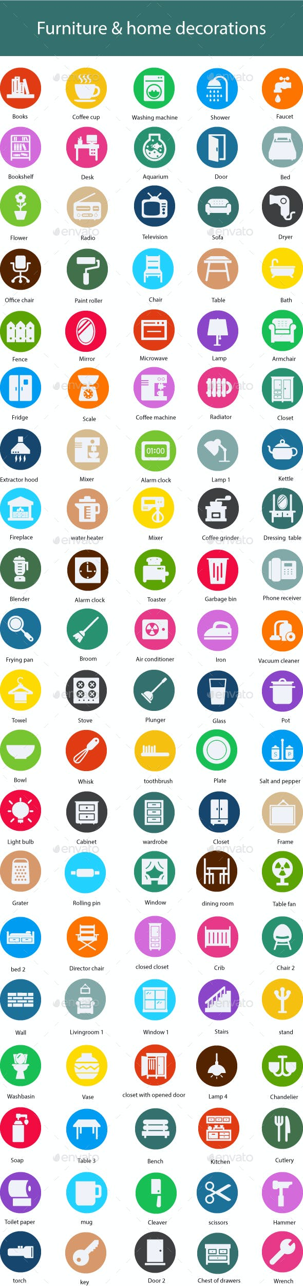 Furniture & home decorations Flat Glyph Icons
