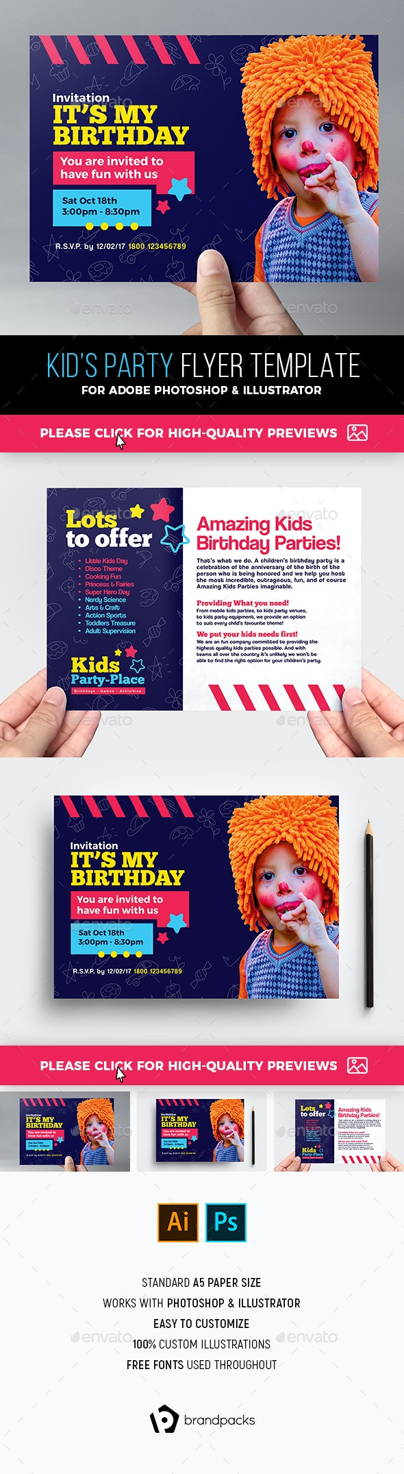Kid's Party Flyer Template - Clubs & Parties Events