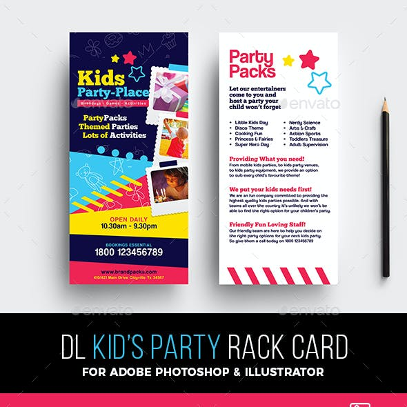 Kid's Party Rack Card Template