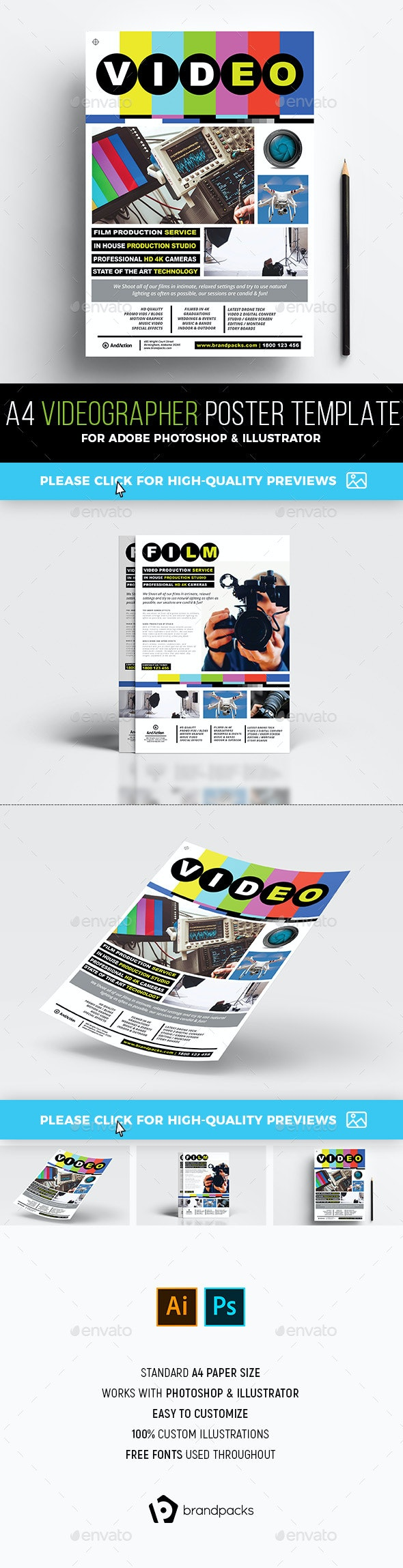 A4 Videographer Advertisement / Poster Template - Corporate Flyers
