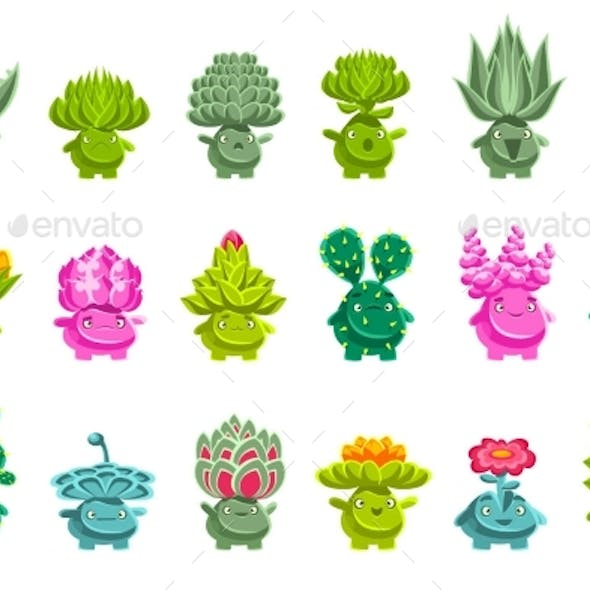 Alien Fantastic Plant Characters with Succulent