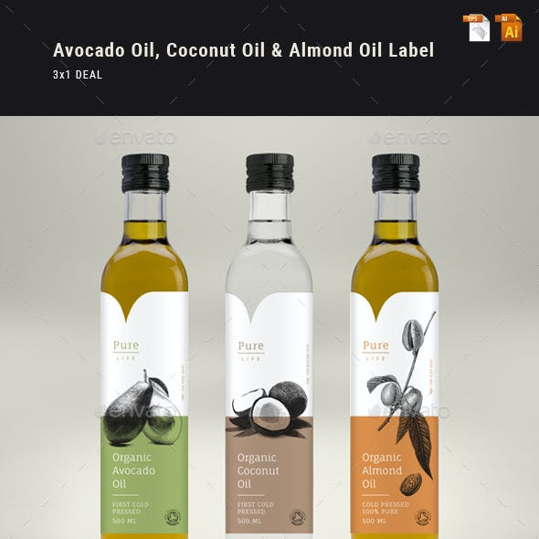 Avocado Oil, Coconut Oil & Almond Oil Label