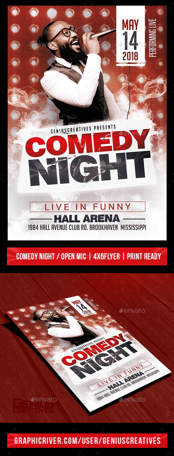 Comedy Show Open Mic Flyer Template - Events Flyers