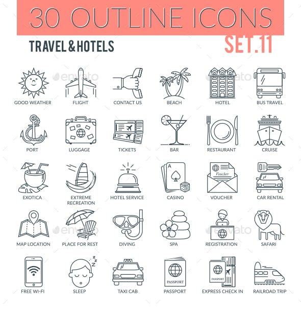 Travel & Hotels Outline Icons