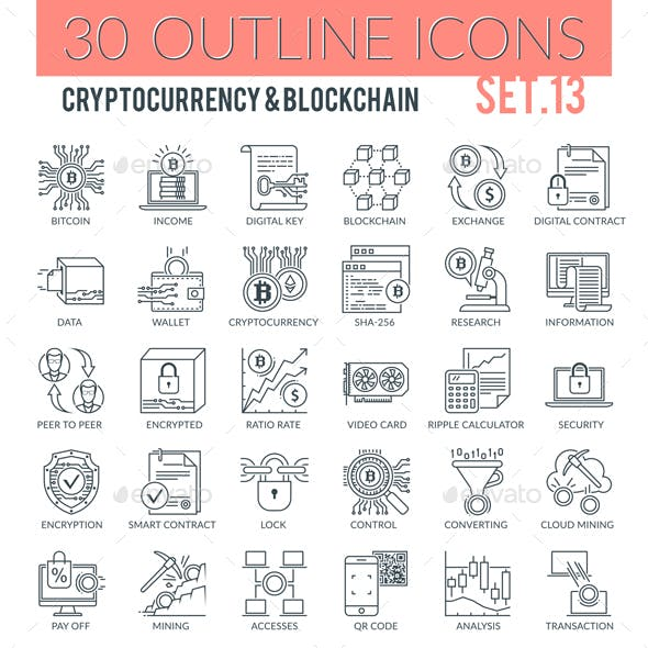 Cryptocurrency & Blockchain Outline Icons