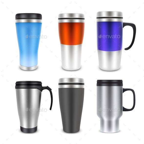 Thermo Cup Travel Mug Mock-up Set