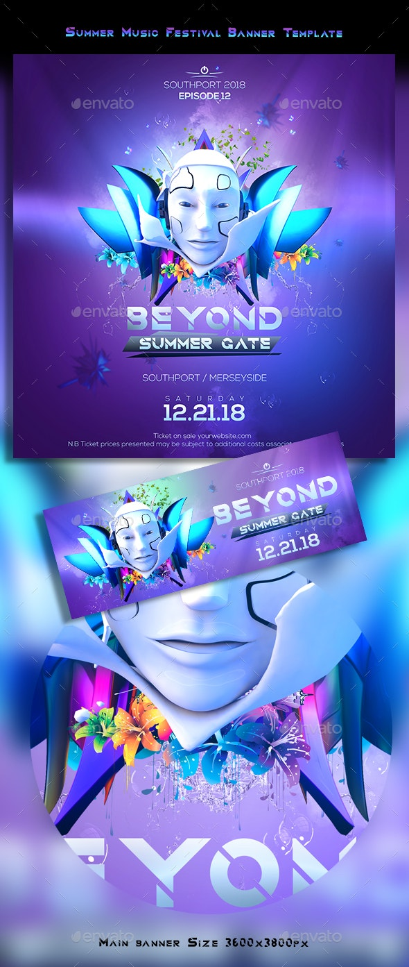 Summer Music Festival Banner Template - Banners & Ads Web Elements