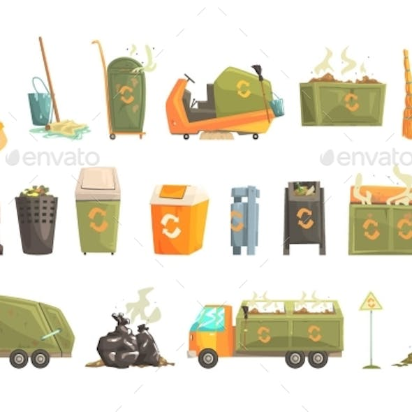 Waste Recycling And Disposal Related Object Around