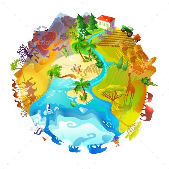 Cartoon Earth Planet Nature Concept