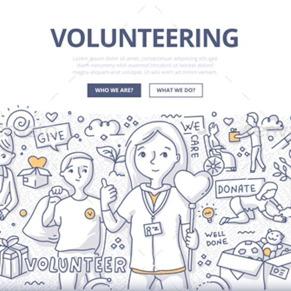 Volunteering Doodle Concept