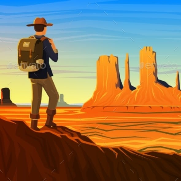 Mountain and Monument Valley with Tourist, Morning