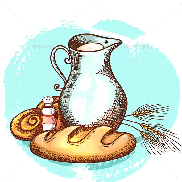 Jug of Milk and Fresh Bread