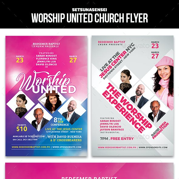 Worship United and the Worship Experience Church Flyer