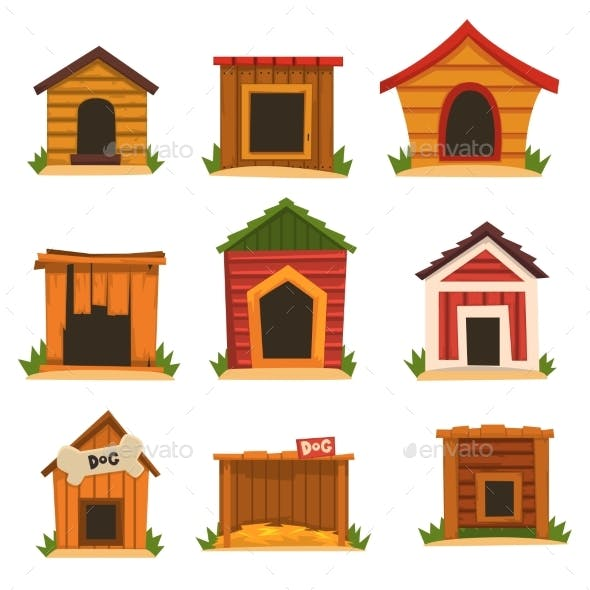 Wooden Dog House Set, Dogs Kennel Cartoon Vector