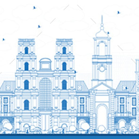 Outline Rennes France City Skyline with Blue Buildings.