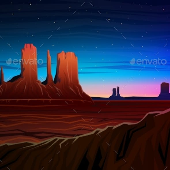 Mountain and Monument Valley, Night Panoramic View