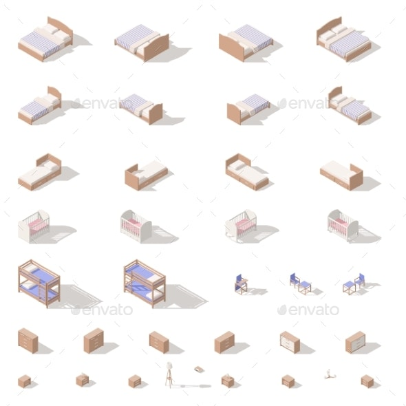 Bedroom and Children Room Furniture Low Poly - Miscellaneous Conceptual