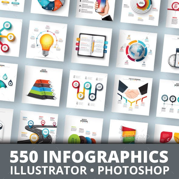 555 Infographics Elements Bundle