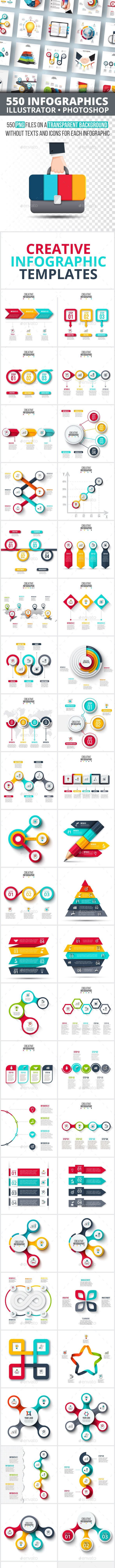 555 Infographics Elements Bundle - Infographics