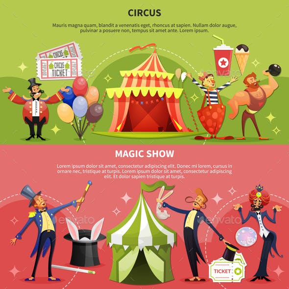 Two Circus Cartoon Banner Set
