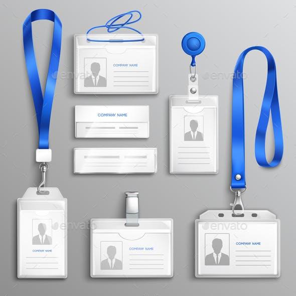 ID Card Holders Realistic Set