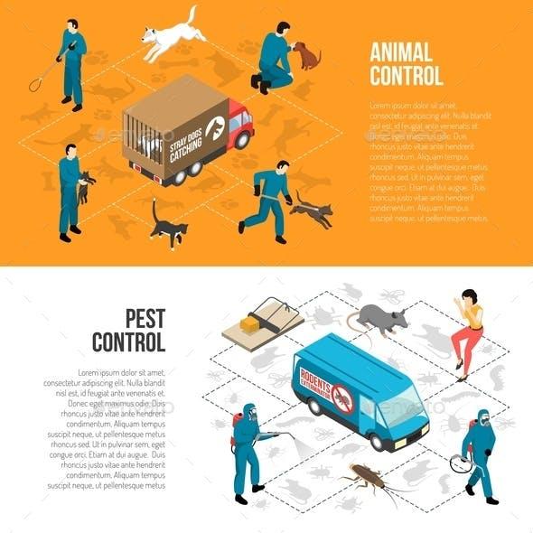 Animal Control Isometric Horizontal Banners