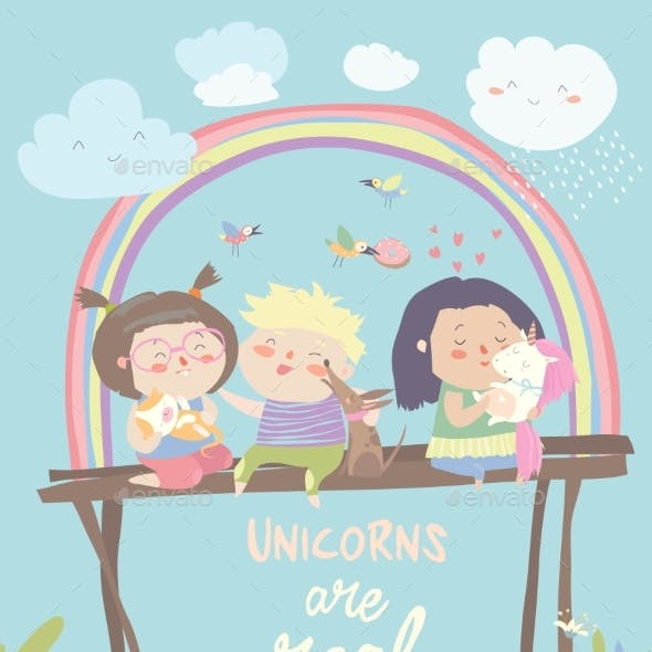 Kids with Their Pets One of Them Is Unicorn