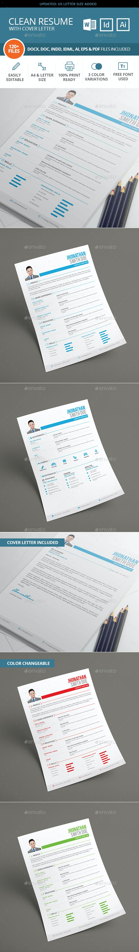 MS Word Clean Resume with Cover Letter - Resumes Stationery