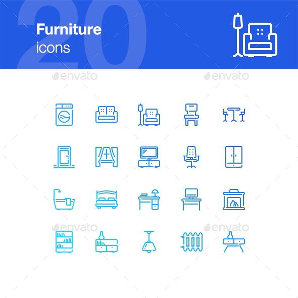 20 Furniture Icons - Man-made objects Objects
