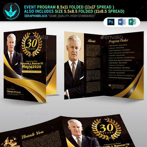 Black plus Gold Pastor's Anniversary Program Template