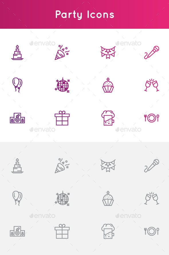 Parties and Celebrations Icons - Abstract Icons