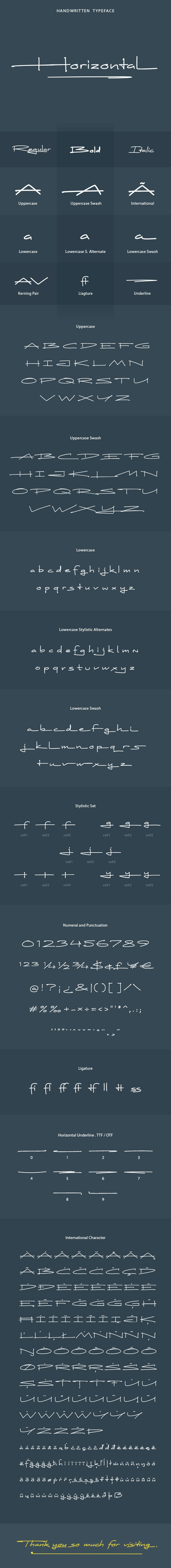 Horizontal Font - Hand-writing Script