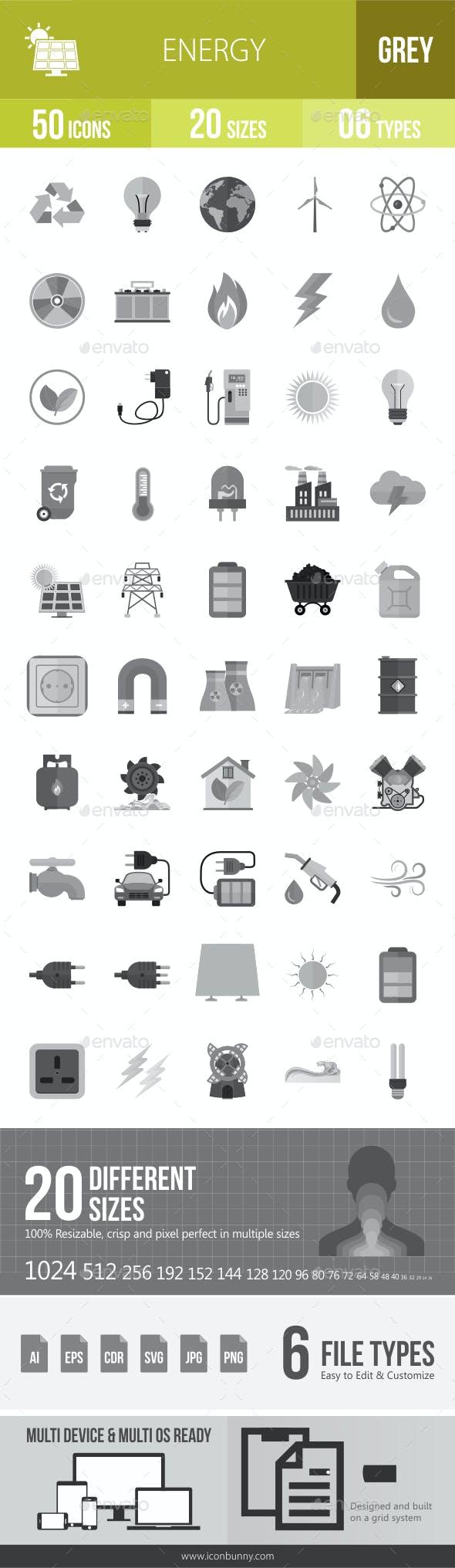 50 Energy Grey Scale Icons
