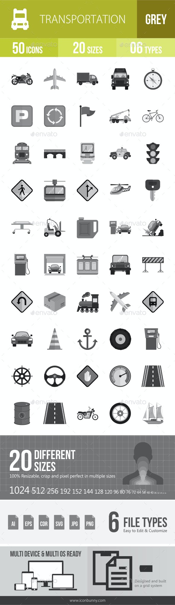 50 Transportation Grey Scale Icons