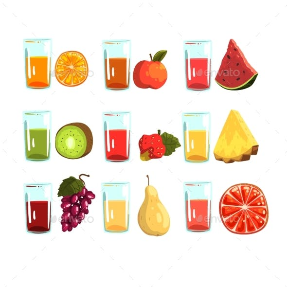 Fruit Juices Set, Orange, Apple, Watermelon, Kiwi