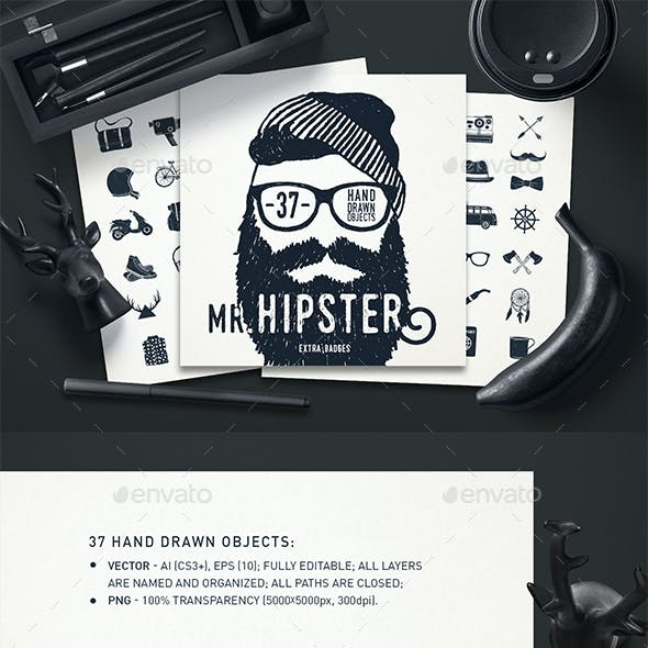 Mr.Hipster 37 Hand Drawn Objects