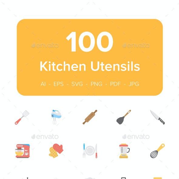 100 Kitchen Utensils Flat Icons