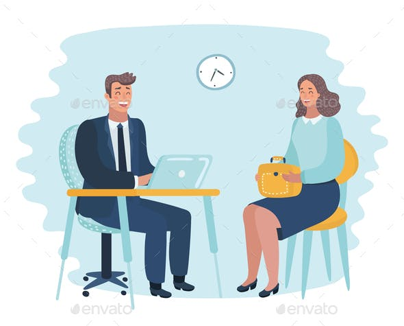 Illustration of Office Employer Interview