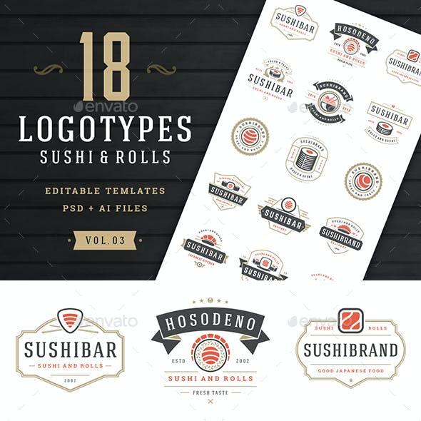 18 Sushi Bar Logos and Badges