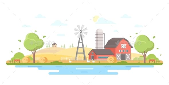 Country Life - Modern Flat Design Style Vector
