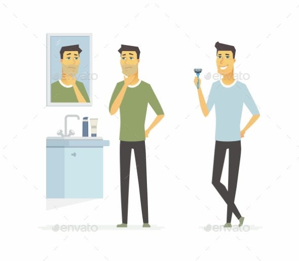 Man Before and After Shaving Cartoon People