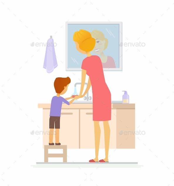 Boy Washing His Hands Cartoon People