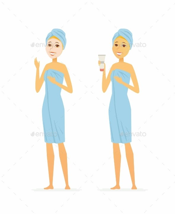 Young Woman Using Face Mask Cartoon People