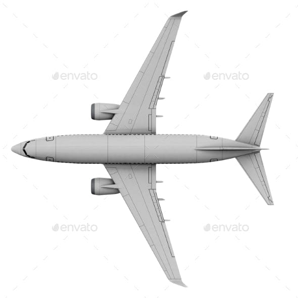 Commercial Jet Plane. 3D Render. View From the Top
