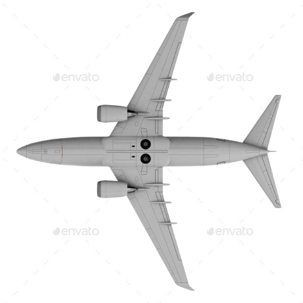 Commercial Jet Plane. 3D Render. Bottom View