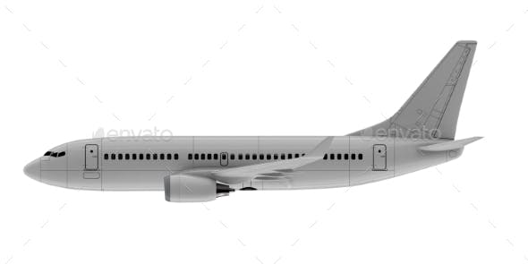 Commercial Jet Plane. 3D Render. Side View