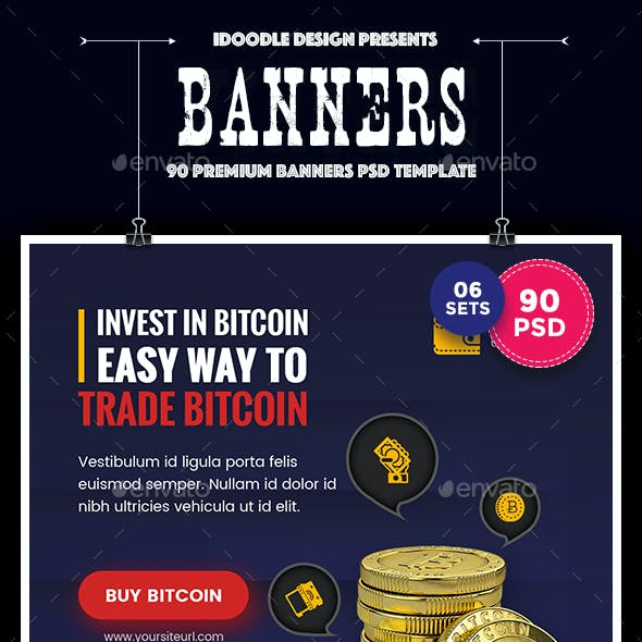 Bundle Cryptocurrency Banners Ad - 90 PSD [06 Sets]