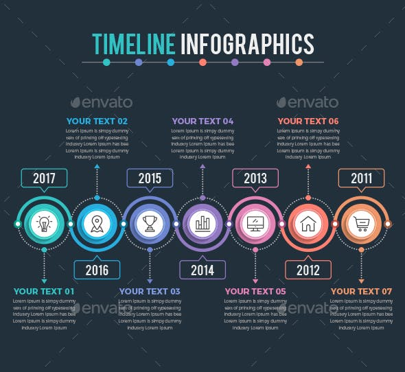 Timeline Infographics with Dark Background